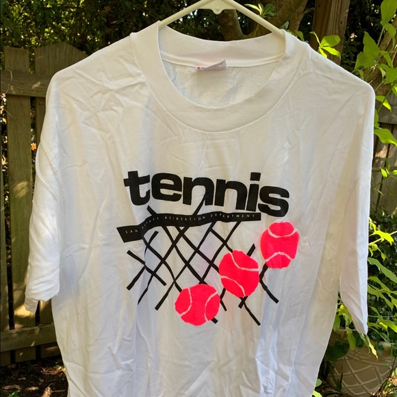 Adult T-Shirt White Size Large Tennis